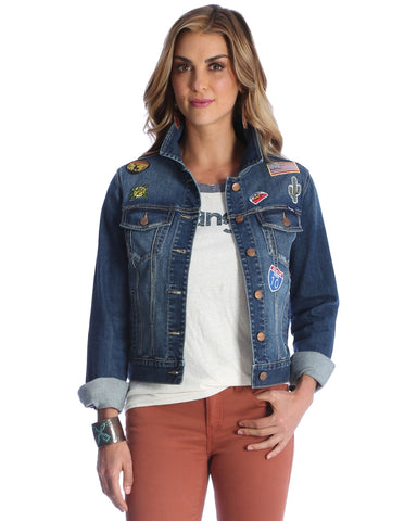 Womens Denim Patch Jacket