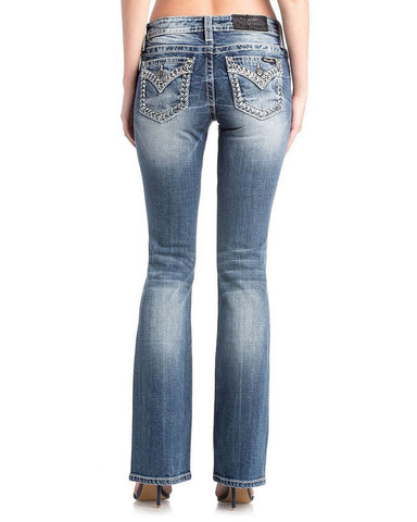 Womens Embellished Faux Flap Boot Cut Jeans