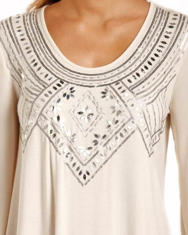 Womens 3/4 Sleeve Embroidered Blouse
