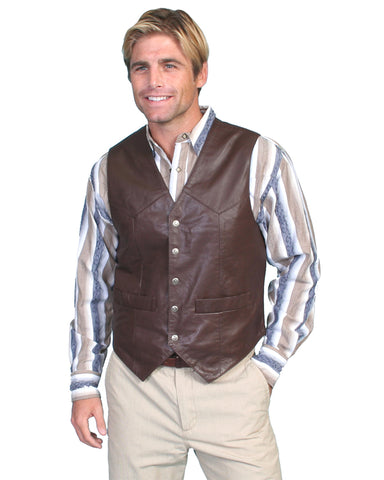 Mens Lambskin Vest - Brown
