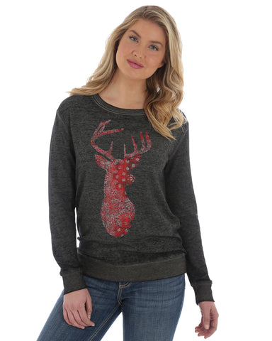 Women's Bandana Deer Graphic Pullover Sweatshirt