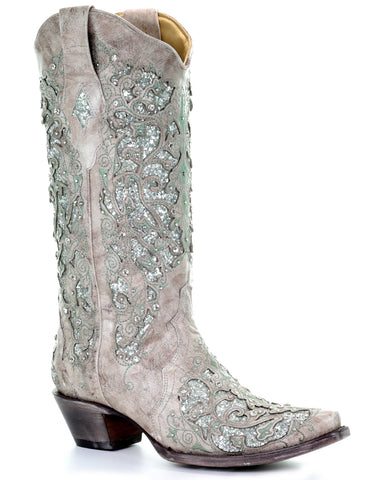 Women's Glitter and Crystals Boots - White & Green