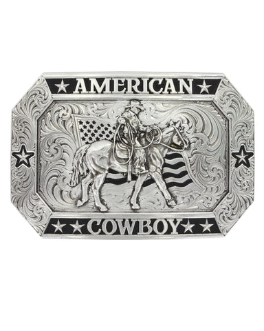 Antiqued American Cowboy Riding Buckle