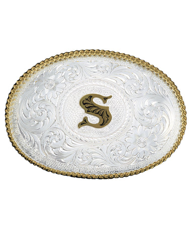 Engraved Initial S Medium Oval Buckle