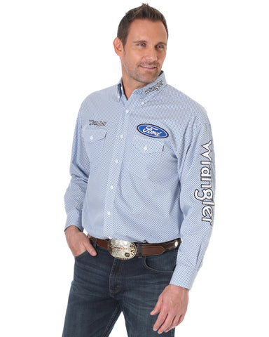 Mens Ford Logo Long Sleeve Western Shirt