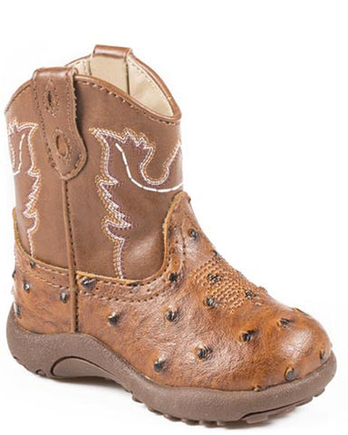 Infant's Faux Ostrich Boots - Tan