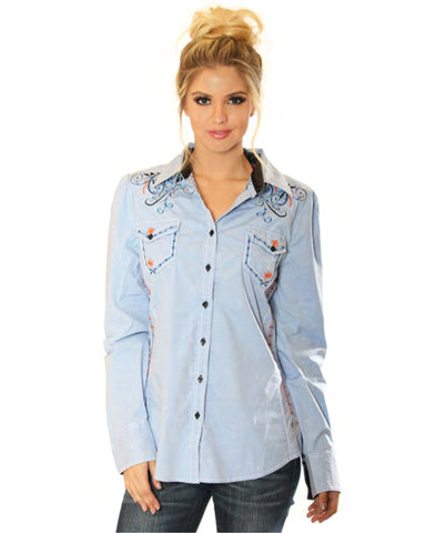 Womens Embroidered Button Up Shirt - Blue