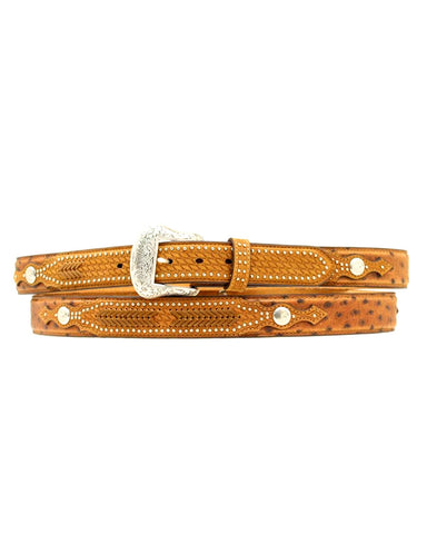 Mens Ostrich And Basketweave Belt