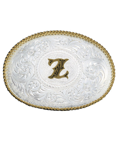 Engraved Initial Z Medium Oval Buckle