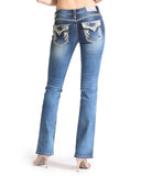 Womens Junior Triangle Flap Boot Cut Jeans