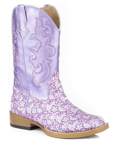 Kid's Floral Glitter Boots
