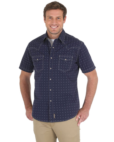 Mens Retro Premium Short Sleeve Western Shirt