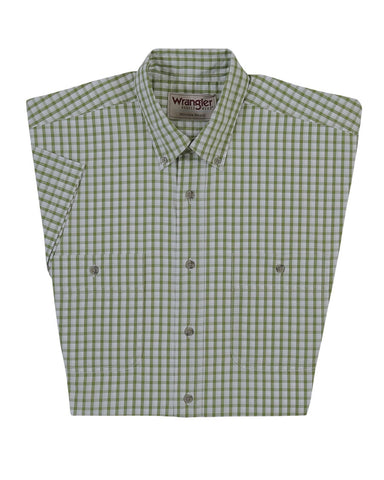 Mens Wrinkle Resistant Short Sleeve Western Shirt - Green