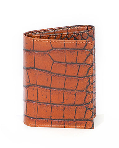 Men's Tri-Fold Crocodile Wallet - Dark Brown