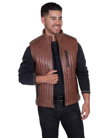 Men's 2-Tone Leather Vest
