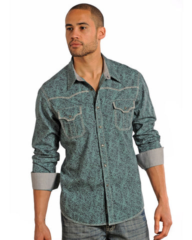 Mens Embroidered Poplin Print Western Shirt