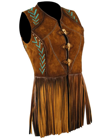 Women's Fringe Embroidered Lambskin Vest