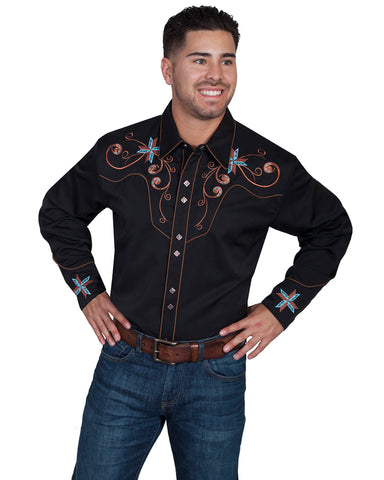 Men's Scroll & Cross Western Shirt