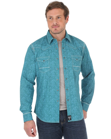 Mens Rock 47 Embroidered Long Sleeve Western Shirt - Turquoise