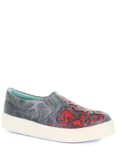 Women's Floral Embroidered Glitter Sneakers - Grey