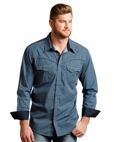 Men's Distressed Dot Print Western Shirt