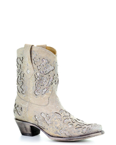 Womens Glitter & Crystals Short Boots