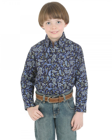 Boys 20X Long Sleeve Paisley Western Shirt