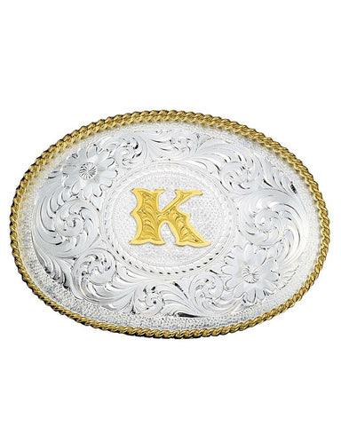 Engraved Initial K Medium Oval Buckle