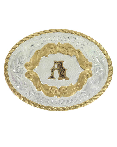Engraved Initial A Small Oval Buckle