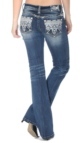 Women's Embroidered Junior Fit Boot Cut Jeans