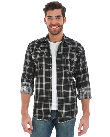 Mens Retro Plaid Two Pocket Western Shirt - Black