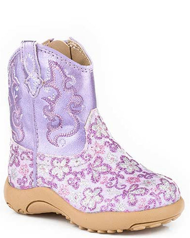 Infants Floral Glitter Boots