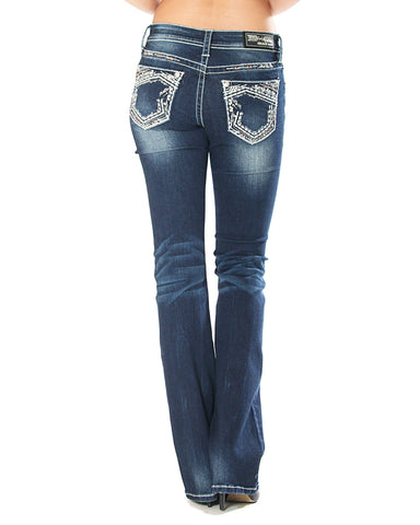 Womens Heavy Stitch Junior Boot Cut Jeans