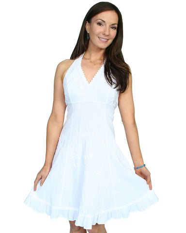 Women's Knee Length Halter Dress - White