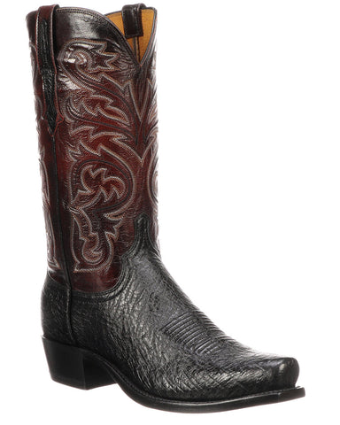 Mens Nathan Smooth Ostrich Boots - Black Cherry