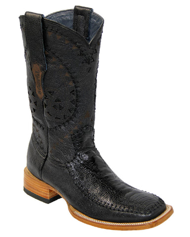 Men's Rope Stitch Ostrich Leg Boots - Black