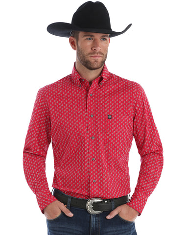 Men's Performance Long Sleeve Western Shirt - Red