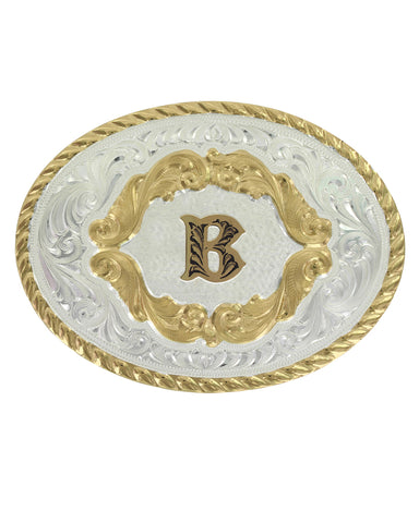 Engraved Initial B Small Oval Buckle