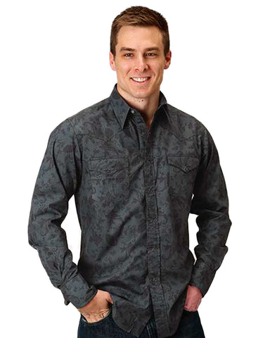 Men's Floral Paisley Long Sleeve Western Shirt