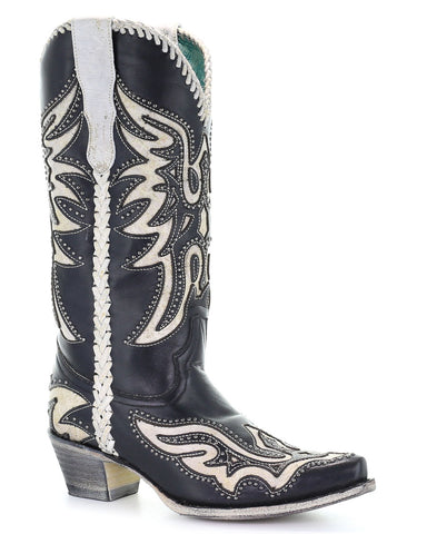 Women's Studded Inlay Western Boots
