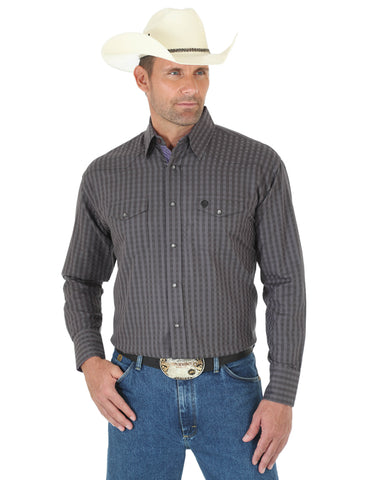 Men's George Strait Troubadour Plaid Long Sleeve Shirt - Black
