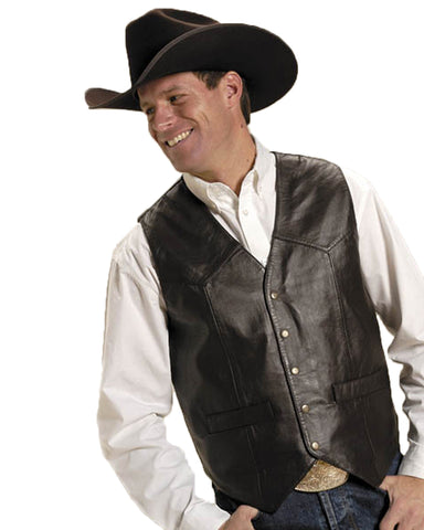 Men's Lambskin Western Vest - Brown
