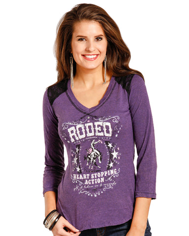 Womens 3/4 Sleeve Rodeo Top