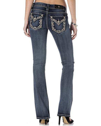 Womens Woven Embellished Jeans
