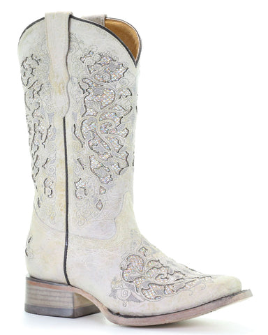 Kids Glitter Inlays & Embroidery Square-Toe Boots - White