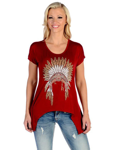 Women's Indian Chief Blouse Maroon