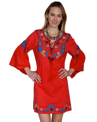 Women's Floral Embroidered Tulip Dress