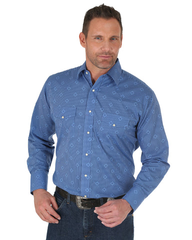 Men's Silver Edition Print Long Sleeve Western Shirt - Blue