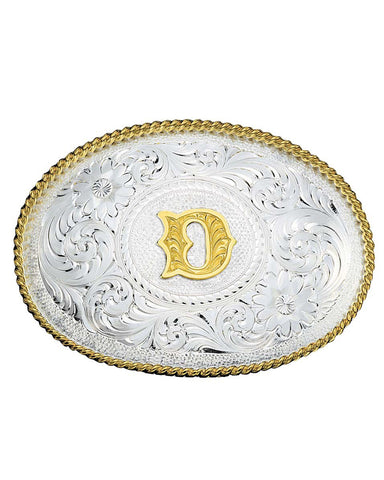 Engraved Initial D Medium Oval Buckle
