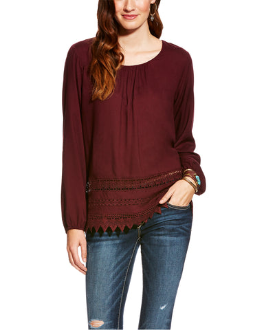 Womens Bendi Crochet & Lace Trim Blouse